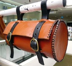 round tool bag bicycle leather satchel handmade tan by G2Pleather