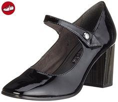 28395, Sandales Bout Ouvert Femme, Noir (Black Pat. Uni 080), 41 EUTamaris