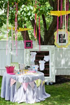 Grey/yellow crafty Baby Girl Shower