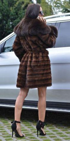 NEW BROWN SAGA MINK FUR COAT FOX CLASS- SABLE CHINCHILLA LONG JACKET TRENCH VEST