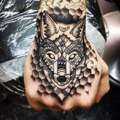 Traditional Fox Inside Honeycomb Male Hands Tattoo | My fox ...