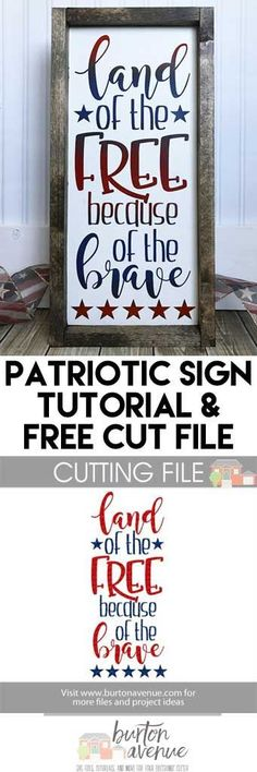 Wood Signs DIY Patriotic Wood Sign Tutorial and Free SVG cut file – Burton Avenue Vinyl Projects, Vinyl Crafts, Diy Craft Projects, Wood Crafts, Pallet Projects, Cricut Air, Cricut Vinyl, Patriotic Crafts, July Crafts