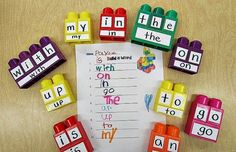 Building Sight Words with Mega Blocks. #Kindergarten: