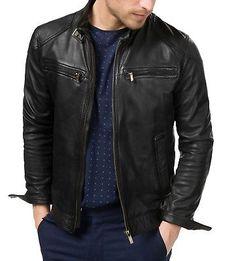 dbaef31ef New-Men-039-s-Genuine-Lambskin-Leather-Jacket-