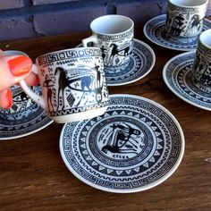 FREE USA Shipping Full Set of Black and White Greek Hand Painted Made in Greece Tea Set Small Teacups and Saucers 5 Cups 5 Saucers Espresso