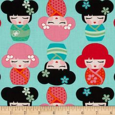 Hello Tokyo Dolls Adventure from @fabricdotcom  Designed by Lisa Tilse for Robert Kaufman, this cotton fabric is perfect for quilting, apparel and home decor accents. Colors include red, orange, black, green, teal, pink and white.