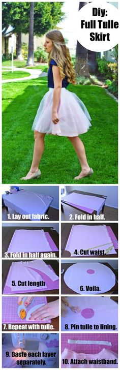 How to make a tulle skirt. This post has pictorials for the math part and the sewing part, so it makes it super easy.: