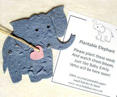 Plantable Elephants - Baby Shower Favor with Flower Seeds - Kids Birthday Party Favor