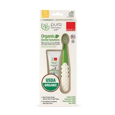 [ Pura Naturals Pet - Organic Dental Solutions Adult, Natural Dog Toothgel and Toothbrush, No Harsh Ingredients, Eco-Friendly (One Size Brush & Ounce Gel) ] Supplies Supplies Care Foeniculum Vulgare, Healthy Teeth, Dental Care, Stevia, The Cure, Organic, Pure Products, Pets, Rice Flour