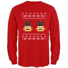 Nutcracker Full Color Ugly Christmas Sweater Red Adult Long Sleeve T-Shirt - Small