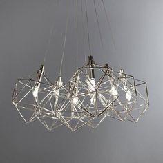 Dunelm Quinn Decorative Geometric Chrome Silver Ceiling Light Cluster Fitting