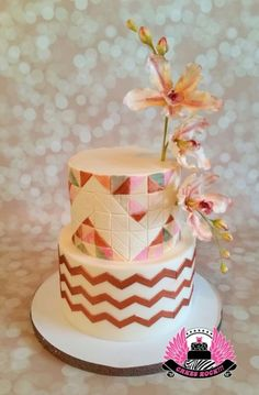 The theme for the baby shower was triangles & chevrons, in the colors of copper, peachy pink, coral pink, nude & soft gray. I took all those colors plus a pretty sage green & created a mosaic of triangles making triangles on the top. Chevron Cakes, Orchid Cake, Geometric Cake, Patterned Cake, Cupcake Cookies, Cupcakes, Dripping Springs, Awesome Cakes, Let Them Eat Cake