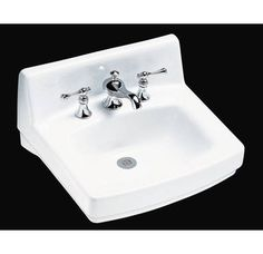 Buy the Kohler White Direct. Shop for the Kohler White Greenwich Wall Mounted Bathroom Sink with 3 Holes Drilled and Overflow and save. Wall Mounted Bathroom Sinks, Basement Bathroom, Countertop Covers, My Mirror, Powder Room, Basin, Faucet, Drill, Cleaning