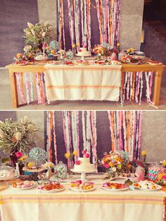 Marfa Desert, #wedding #desserttable in pink, orange, marigold and cornflower blue; photo: NBarrett Photography