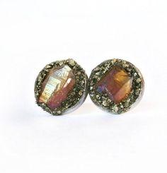 Citrine Earrings, Raw Citrine Earrings, Citrine Stud Earrings, Raw Citrine, November Birthstone, Raw Gem Earrings, Raw Crystal Earrings