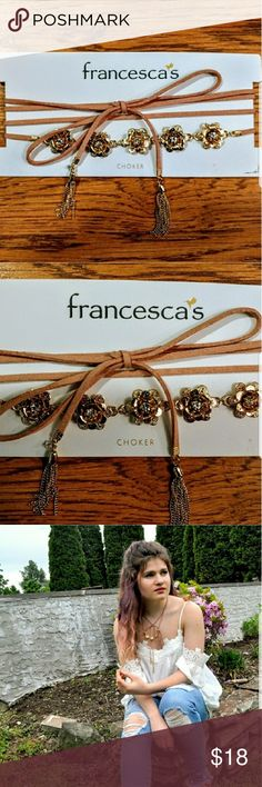 Francescas Wrap Around  Chocker with Gold Flowers Gorgeous Francesca's tie chocker with gold metallic flowers. Perfect for spring and summer or to add a girly touch to any outfit. Pairs well with a flirty top/dress or something more plain. Francesca's Collections Jewelry Necklaces