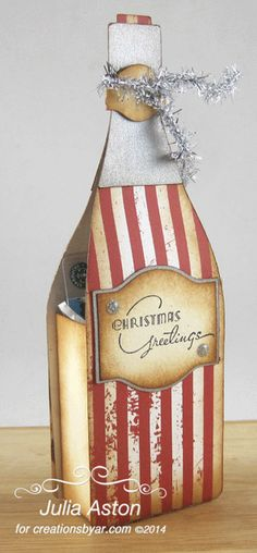 Create With Me: Christmas Greetings in a Bottle. I made this with a template from Creations by AR that I cut out using my Silhouette Cameo. A great gift box for a gift card or small gift.