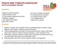 Peach and Tomato Gazpacho with Cucumber and Yogurt - YMCA Farmers Market July 2013