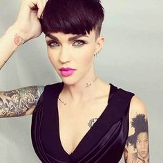 14 More New Short Haircuts for 2017 Summer Season: #6. Ruby Rose Dark Pixie with Bangs and Shaved Sides