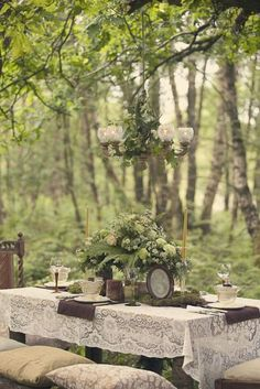 Vintage garden wedding. Add a woodsy ethereal essence, a bit of purple accents, and lots of lights and there you have it!