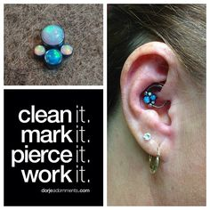 Daith piercing by Nick. Gem cluster by Anatometal. #daith #piercing #rochester #anatometal #cluster #585  (at Dorje Adornments)