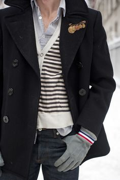 overcoat, striped cardigan sweater, buttondown shirt