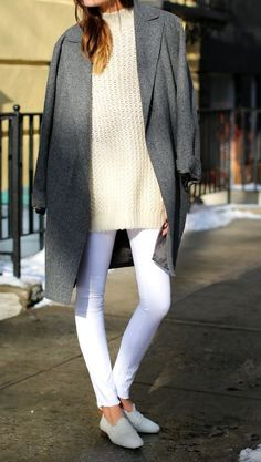 Style - Minimal + Classic: cream sweater with white jean look for spring