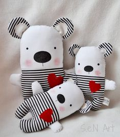 Black and White Striped Handmade Stuffed Teddy Bear Soft Toy Bear Modern Baby Nursery Decor F. Black and White Striped Handmade Stuffed Teddy Bear Soft Toy Bear Modern Baby Nursery Decor Fabric Teddy Bear Plush Black White Red Bear Selling Handmade Items, Handmade Toys, Etsy Handmade, Fabric Toys, Fabric Decor, Fabric Pen, Sleeping Bunny, Stuffed Animals, Sewing Dolls
