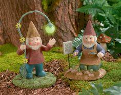 Grasslands Road Garden Gnome Figurines, 8-Inch #GrasslandsRoad #SecretGarden #Fairy #FairyGarden #GID #GlowsInTheDark #Cement #Resin #Set #Standing #Kneeling #Flower #Lantern