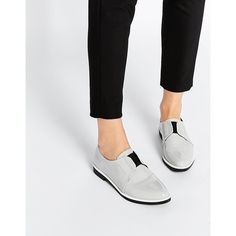 ASOS MAZE Flat Shoes (200 SAR) ❤ liked on Polyvore featuring shoes, flats, grey, slip on flats, gray shoes, gray flat shoes, flat shoes and grey patent leather flats