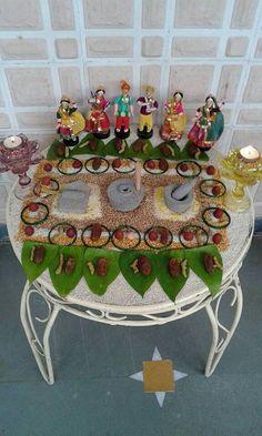 Alll about wedding Thali Decoration Ideas, Diwali Decorations, Stage Decorations, Indian Wedding Decorations, Festival Decorations, Flower Decorations, Ganapati Decoration, Wedding Doll, Wedding Dress