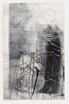 Ghost Sun in the Northern City, Monoprint with drypoint and collage on paper, 25 x 16 cm. Abstract Oil, Abstract Watercolor, Landscape Paintings, Art Paintings, Drypoint Etching, Artist Sketchbook, Texture Art, White Art, New Art
