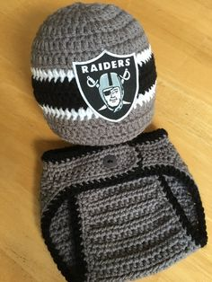 Oakland Raiders Baby Boy Knit Crochet Hat and Diaper Cover Newborn Coming  Home Outfit Baby Shower Gift 862f0a0db