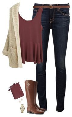 """Cozy cardigan & deep red peplum tank"" by steffiestaffie ❤ liked on Polyvore featuring J Brand, H&M, BKE Red, Tory Burch, Henri Bendel and Michael Kors"