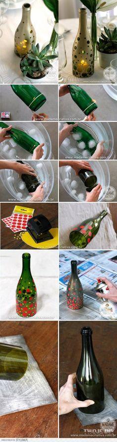 Forma de tallar una ampolla per a fer un llum.