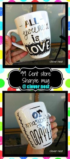 "DIY sharpie mug ""all you need is love, or maybe just coffee"" Valentine's idea <----- cute for gifts Sharpie Crafts, Diy Sharpie Mug, Cute Crafts, Crafts To Do, Craft Gifts, Diy Gifts, Diy Cadeau, Diy Mugs, Crafty Craft"