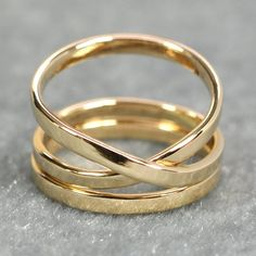 Luxury Gift for Her, Solid Gold Infinity Ring Plus One Yellow by seababejewelry Yellow Gold Rings, Green And Gold, White Gold, Rose Gold, Unique Wedding Bands, Wedding Rings, Types Of Gold, Wide Rings, Gold Hands