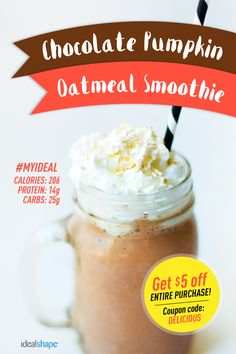 Chocolate Pumpkin - Recipe: 1 scoop Chocolate IdealShake mix, 1 cup unsweetened almond milk, 1/4 cup rolled oats, 1-2 T of pumpkin puree, dash of cinnamon. Add ice, blend and enjoy!