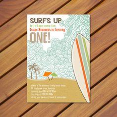 PRINTABLE Vintage Beach Surf themed birthday party invitation. $10.00, via Etsy.