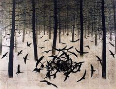 Frozen Forest 1960 Japanese-style painting (Japanese-style painting generally uses mineral pigments like rock paints and India ink, and it is usually done on silk, Japanese paper, gold or silver leaf) 113.0 × 146.3 cm Ookawa Museum Foundation, Japan Matazo Kayama (1927-2004) was a Japanese painter born in Kyoto, the son of a designer of Nishijin-brocade Kimono (Traditional Japanese Dress). He was seen in Japanese art circles after World War II as