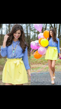 I need this yellow skirt! Paired with a jean top would be perfect