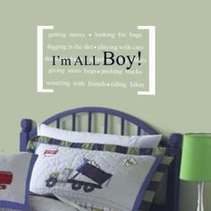Vinyl Wall Decal Perfect quote for little boys- I'm ALL BOY Nursery decor. $25.00, via Etsy.