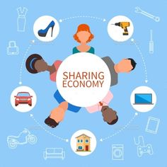 Buy Sharing Economy And Smart Consumption Concept by skypicsstudio on GraphicRiver. Sharing economy and smart consumption concept. Vector illustration in flat style. People save money and share resources.