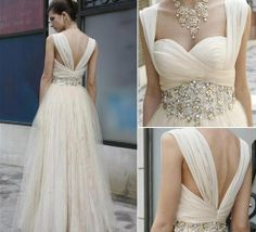 Simple cream wedding dress ... But I want more POOF in the skirt..!