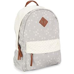 Aeropostale Flower Star Print Backpack ($35) ❤ liked on Polyvore featuring bags, backpacks, seagull, canvas backpack, white canvas bag, star backpack, canvas bag and strap backpack