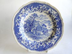 Woods Seaforth 9 Plate Antique Staffordshire Blue by Quirkytiques, £17.95