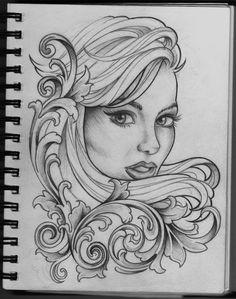 Woman and Filigree tattoo design, a little more classy again! Woman and Filigree tattoo design Tattoo Sketches, Tattoo Drawings, Drawing Sketches, Art Drawings, Tattoo Art, Drawing Designs, Sketch Art, Tattoo Girls, Girl Tattoos