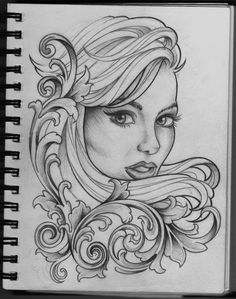 Woman and Filigree tattoo design by ~Frosttattoo on deviantART