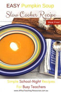 Slow Cooker Pumpkin Soup -School Night Recipes For Teachers Slow Cooker Pumpkin Soup, Types Of Pumpkins, Fine Motor Activities For Kids, Kindergarten Activities, Easy Soup Recipes, Baking Recipes, Canned Pumpkin, Quick Easy Meals, Food To Make