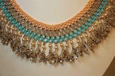 Beadwoven Southwest Sunset Beadwork Necklace - Beadweaving - Seed Beads